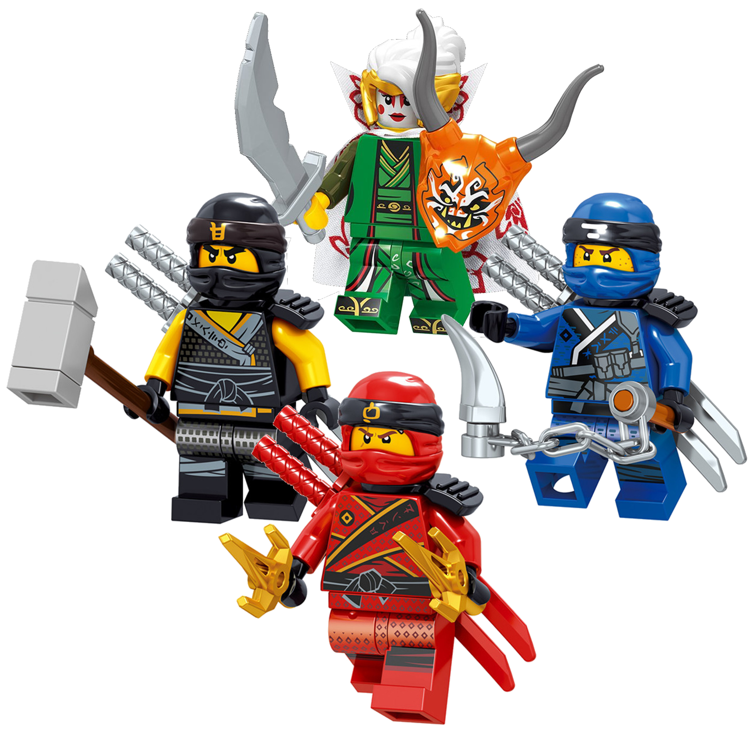 Lego Ninjago Minifigures Golden Lloyd Zane Cole Nya Kai Jay And Wu